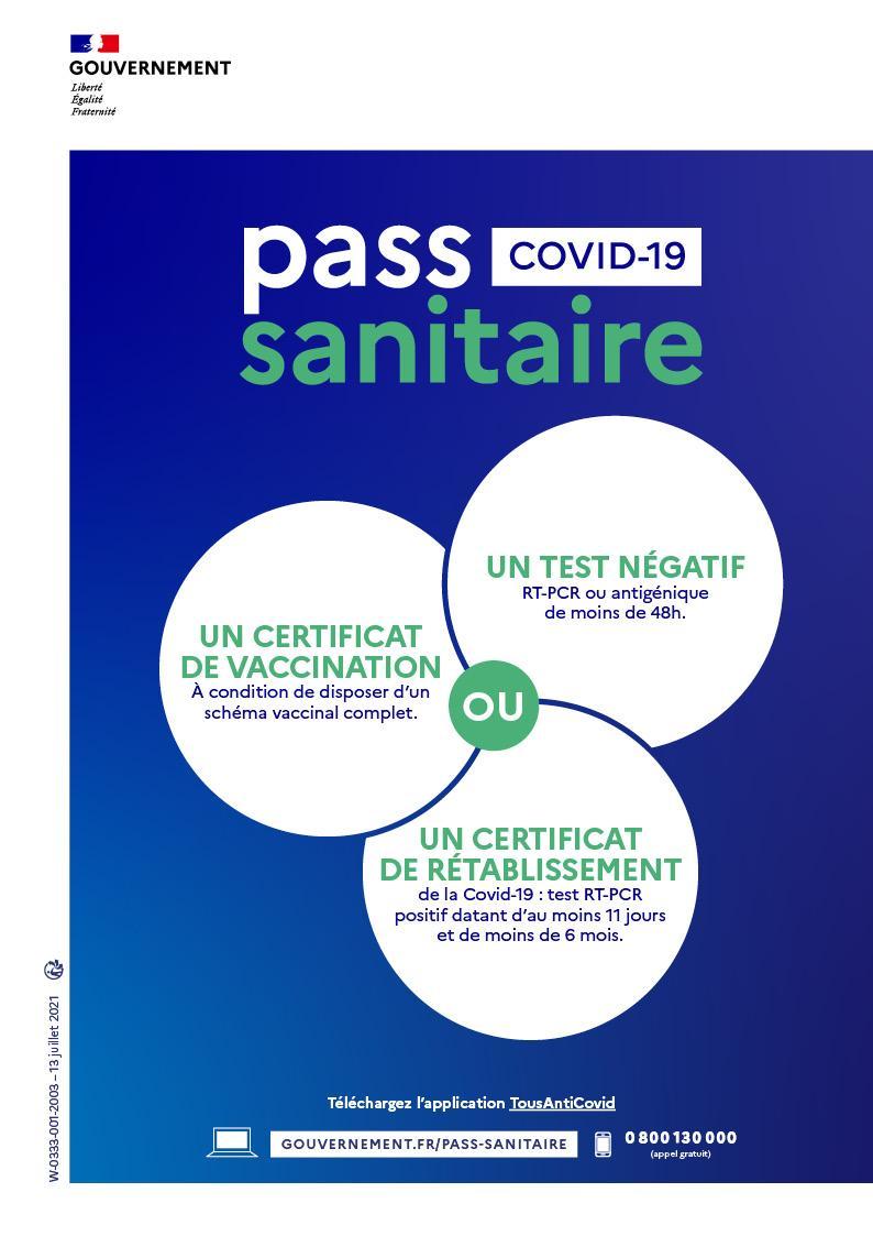 Affiche a4 pass sanitaire