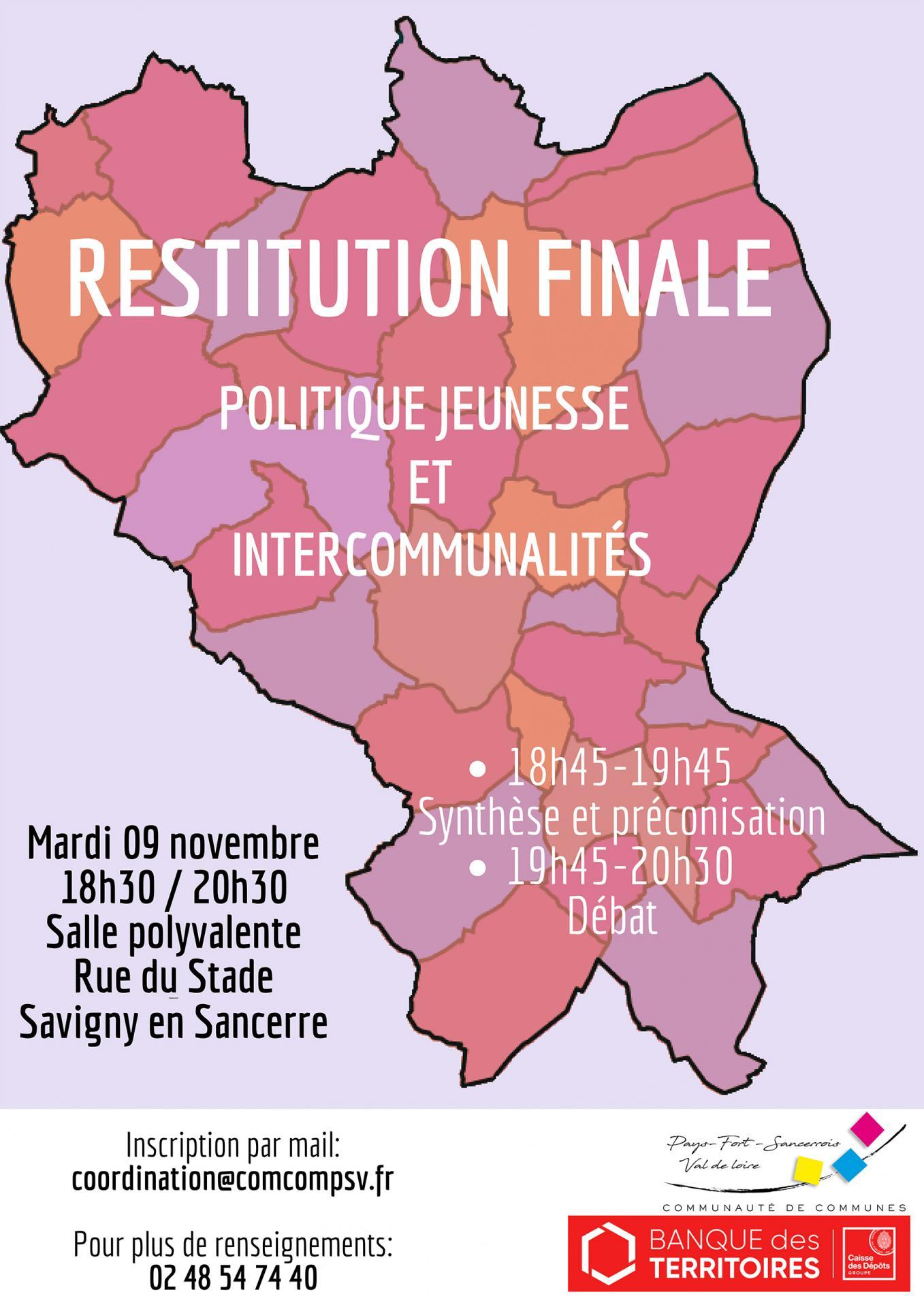 Affiche reunion publique restitution finale politique jeunesse et intercommunalite